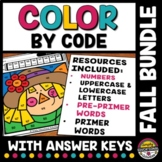 FALL MATH ELA ACTIVITY COLOR BY NUMBER LETTER SIGHT WORD COLORING PAGES
