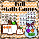 FALL MATH GAMES, 10 frames match, candy bag match, number order puzzles