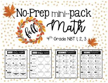 4th Grade FALL MATH MINI-PACKET NO PREP (Place Value/Rounding)