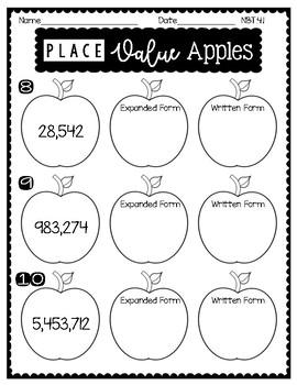 4th Grade FALL MATH NO PREP Printables MINI (Place Value/Rounding)