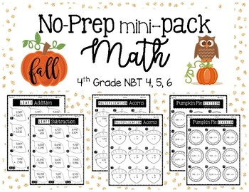 4th Grade FALL MATH NO PREP Printables MINI (Basic Operations)