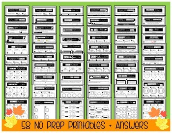 *NEW* 4th Grade FALL MATH BUNDLE   58 NO PREP Printables!   CCSS Aligned
