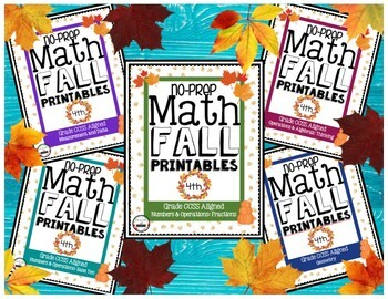 NO PREP FALL MATH PRINTABLES | 58 Sheets | 4th grade CCSS Aligned