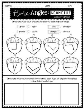 4th Grade FALL MATH NO PREP PRINTABLES (Geometry)
