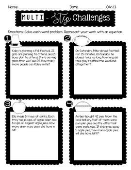 4th Grade FALL MATH NO PREP PRINTABLES (Operations & Algebraic Thinking)