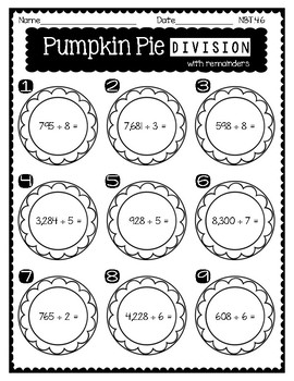 4th Grade FALL MATH NO PREP PRINTABLES (Number and Operations in Base 10)