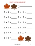 THANKSGIVING FALL MULTIPLICATION WORKSHEETS A (10 Unique W