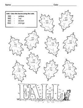 fall math worksheet   digit addition with regrouping by kelly connors