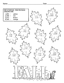 fall math worksheet 4 digit addition and subtraction with regrouping. Black Bedroom Furniture Sets. Home Design Ideas