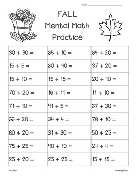 FALL Mental Math Addition Practice Worksheet