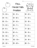FALL Mental Math Subtraction Practice Worksheet