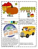FALL Mini Book Reader, Vocabulary Cards, Activity & Foldable