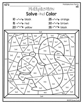 FALL Multiplication Coloring Worksheets Solve and Color by ...