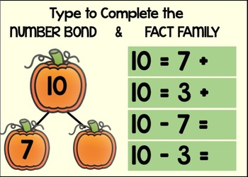FALL NUMBER BONDS & FACT FAMILIES OF 10: BOOM CARDS