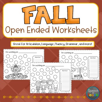 FALL Open Ended Worksheets