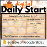 FALL & PUMPKIN Digital Daily Start **EDITABLE* GOOGLE: Cal