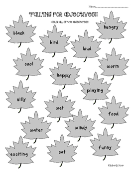 FALL Parts of Speech Coloring Worksheets - Nouns, Verbs and Adjectives