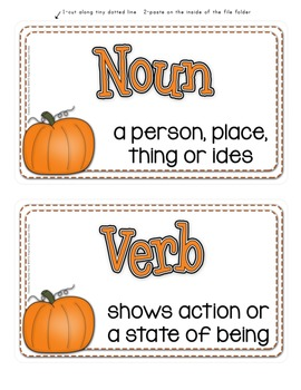 FALL Parts of Speech File Folder Game