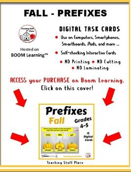 FALL ... Prefixes & Root Words ... Grades 4-5 Vocabulary DIGITAL DECK  Gr 4-5
