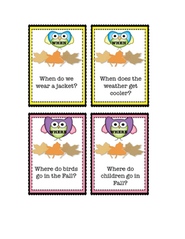FALL WH QUESTIONS  (Revised) for K-1st GRADE