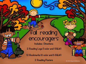 FALL READING ENCOURAGERS -Bookmarks and Reading Logs to En