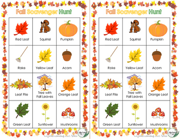 FALL SCAVENGER HUNT- GREAT BACK TO SCHOOL ACTIVITY!