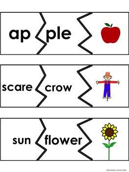 SYLLABLES Game Cards Worksheets Printables Autumn Fall theme