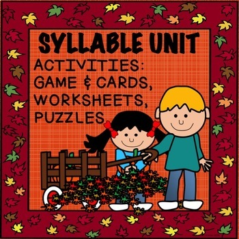 SYLLABLE  Game, Cards, worksheets  Fall theme