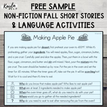 {FALL FREEBIE} Non-Fiction Short Story + Language Activities! **SAMPLE**