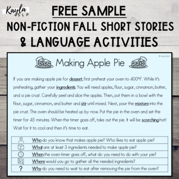 {FALL FREEBIE} Non-Fiction Short Story + Language Activiti