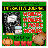 Fall Word Work Foldables Spelling Grammar Vocabulary