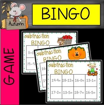 FALL Subtraction Bingo