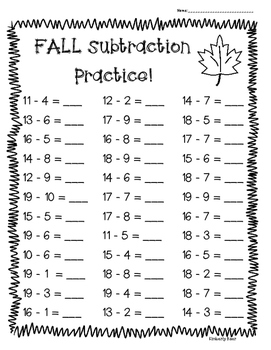 FALL Subtraction Practice -- 4 Leveled Worksheets  -- Great for Back to School!