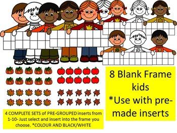 FALL TEN FRAME KIDS CLIP ART BUNDLE