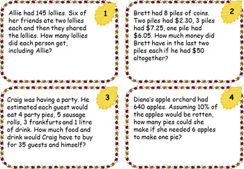 FALL THEME Hard Math Challenge Cards ~ multi-step