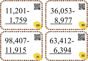 FALL THEME Subtraction Cards With Regrouping ~ Self-checking QR answers included