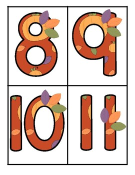 FALL Theme Large Numbers 0-20 Autumn