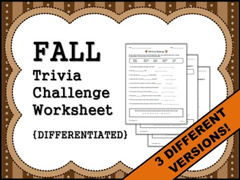FALL Trivia Challenge Worksheet {DIFFERENTIATED}