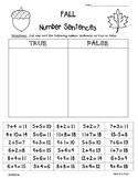 FALL True or False Number Sentences - Sorting True or False? Equalities Practice