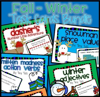 SCOOT 6 FALL & WINTER Math & LA Task Cards BUNDLE Game CC,