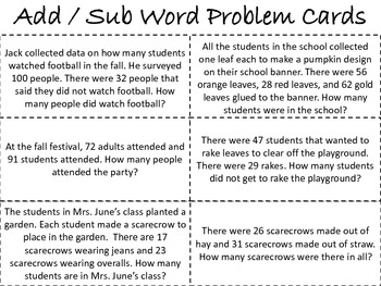 FALL WORD PROBLEMS PACK