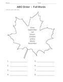 FALL Worksheet / ABC Order / 1st Grade / 2nd Grade