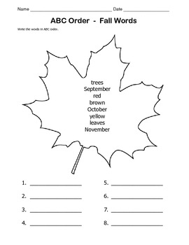 FALL Worksheet / ABC Order / 1st Grade / 2nd Grade by Kelly Connors