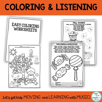 Fall and Halloween Music Class Dynamics & Expression Worksheets