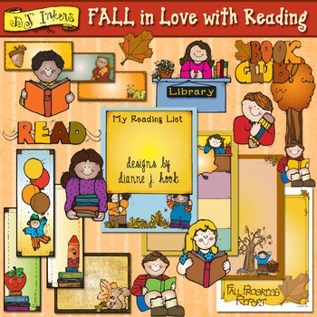 FALL in Love with Reading Clip Art & Printables