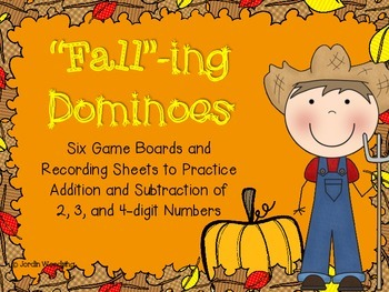 FALLing Dominoes- Six Addition and Subtraction Math Game Boards