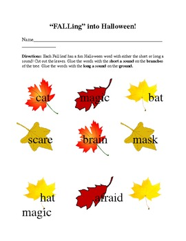"""FALLing"" into Halloween! - Short and Long Vowel Word Sorts"