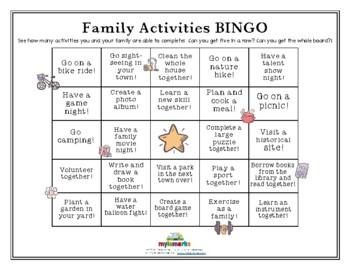 FAMILY ACTIVITIES BINGO