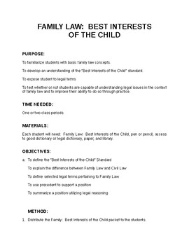 FAMILY LAW:  BEST INTERESTS OF THE CHILD