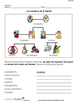 FAMILY RELATIONSHIPS PRACTICE (SPANISH)